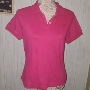 Lilly Pulitzer medium hot pink fitted polo shirt